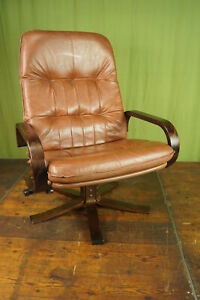 60er Vintage Armchair Swivel Chair Leather Relax Easy Lounge Westnofa Rykken Age