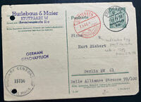 1946 Stuttgart Germany Allied occupation Commercial Postcard Cover To Berlin