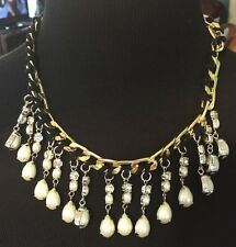 TALBOTS Signed~Silver/Gold Tone~Faux Pearl~Rhinestone~Black Accent Necklace~NWOT