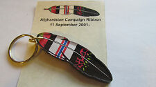 "AFGHANISTAN Campaign Ribbon Feather Native American Keychain Acrylic 3""  NWT"