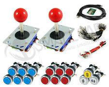 Kit Joysticks et boutons chromés lumineux 2 joueurs avec interface USB