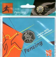 2012 50p OLYMPIC 11/29 FENCING COIN HANGING BAG BRILLIANTLY UNCIRCULATED @