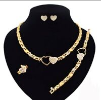 "Hugs & Kisses Necklace With Bracelet 18"" Xo Earrings & Ring 18k Layered"