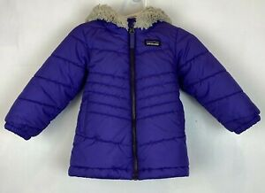 Patagonia Sz 12 Months Girls Puffer Jacket Purple Polyester Faux Fur Hood