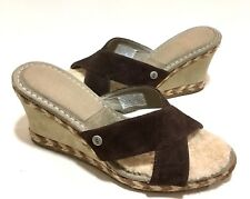 UGG Australia MARGOT Leather Espadrille Wedge Sandals 8 Brown Sheepskin Open Toe