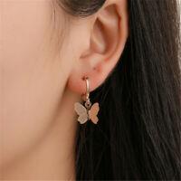 Elegant Women Lady Frosted Butterfly Ear Hoop Drop Dangle Earrings Jewelry NEW