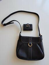 LANCEL - Sac noir à bandoulière + petit portefeuille