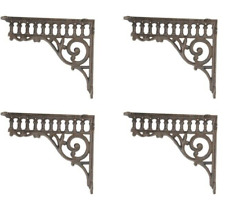 Set/4 Rustic Brown Cast Iron metal Vintage-Look Shelf Brackets / Corbels