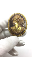 Antique Victorian Gilded Carved Celluloid Baroque Cameo Engraved Brooch/Pendant