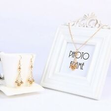 Gold Plated Tassel Bead Shaped Drop Dangle Earring and Necklace Jewellery Set
