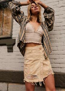 Free People Butter Cream Parker Wrap Skirt BNWT Size 26 Waist 8 UK RRP $78