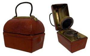 Antique 19thC Victorian English Gladstone Bag Miniature Travelling Desk Inkwell