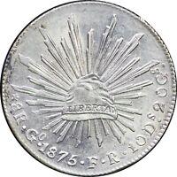 Mexico 8 Reales Go 1875 F.R. Guanajuato. KM# 377.8