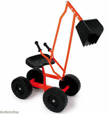 New Games Galore Kids Ride on Metal Sit on Digger Excavator on Wheels - Age 5+