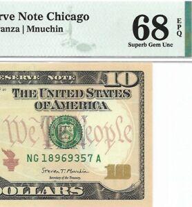 2017 $10 CHICAGO FRN, PMG SUPERB GEM UNCIRCULATED 68 EPQ BANKNOTE