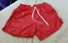 Mens Soffe USA ultra light sprinter shiny wetlook nylon football Shorts M red