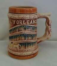 "New Orleans French Quarter Ceramic Beer Stein Bourbon St Vintage 4.5"""