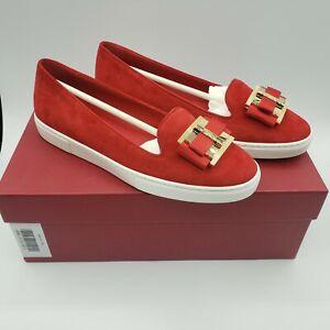 Brand New Salvatore Ferragamo Womens Pelagie Suede Sneakers Loafer Red $560