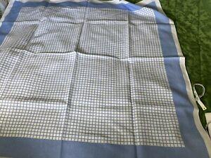 """Original Fine Irish Linen Farmhouse Tablecloth Blue Check 50""""50"""""""