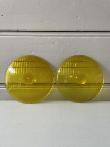 Vintage PAIR Yellow Glass Fog Lamp Driving Light Headlight DOMED ~ 5.5 inch