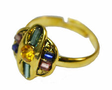 GLAMOROUS GOLD TONE GEOMETRICAL ADJUSTABLE RING YELLOW RHINESTONE (ZX9/16)
