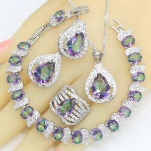 Jewelry set Multi 4 pcs 1 Lot Rainbow Mystic Fire Topaz Silver Danlge Boucles d/'oreilles