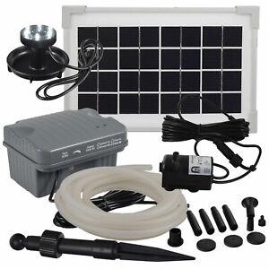 Agora-Tec® Solar Bachlauf pumpen Set mit Akku & LED & 5m Schlauch Wasserfall