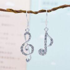 Women's 925 Silver Plated Musical Note Cubic Zircon Dangle Earrings