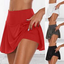 Women Athletic Tennis Sports Skirt Running Summer Mini Skirts with Underwear **q