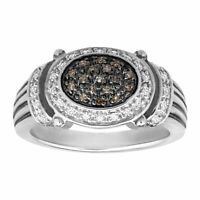 1/5 ct Brown & White Diamond Ring in Sterling Silver