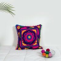 """16""""x16"""" Suzani Pillow Cases Indian Embroidered Cushion Cover Decorative Pillows"""