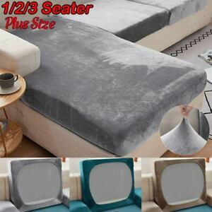 Plus Size Velvet Replacement Sofa Seat Cushion Covers Stretch Couch Protector
