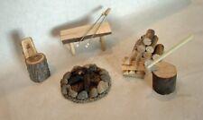 Miniature Dollhouse Fairy Garden Accessories ~Medium camping scene, campfire