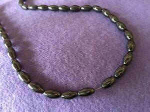 Hematite 12x6mm oval beads