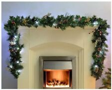 Luxury Pre-Lit Natural Pine Cone Berry Decorated Garland 40 White LED Lights 9ft