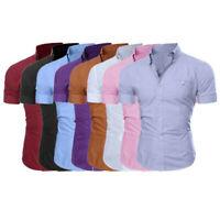 Formal Mens Fashion Luxury Business Stylish Slim Fit Short Sleeve Casual Shirt