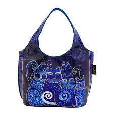 Laurel Burch Foiled Indigo Cats Medium Small Scoop Tote Bag NEW 2018