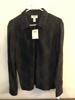 NWT Talbots Flannel Plaid Button Down Women's Navy & Green Size Large NEW