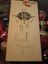Vtg Art Deco GIBSON Christmas Card w/Silk Ribbon & Candelabra USED