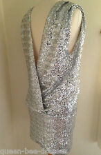 JOHN ZACK  SEQUIN SILVER/BLACK OPEN BACK  TOP  Mini Dress EVENING PARTY