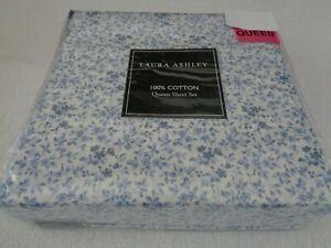 New Laura Ashley WINDING VINE Queen sheet set Blue floral - petite flowers