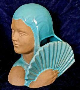 Uncommon Catalina Pottery Head Vase w Art Deco Fan Turquoise & Terra Cotta C 803