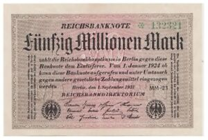 5o Millions Marks German banknote issued in 01.09.1923 MM-23 aunc