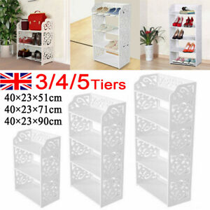 3/4/5 Tiers Shoe Rack Storage Shelf Display Stand Organiser Unit Cabinet White