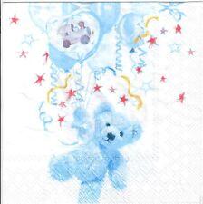 4 Single paper decoupage napkins. New baby boy, teddy bear, balloons, cute -442