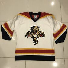 Vintage Florida Panthers Authentic White Stater Hockey NHL Jersey Fight Strap 48