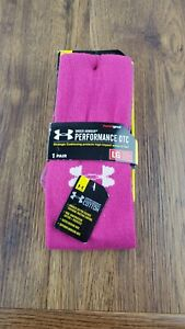 Mens Under Armour Performance OTC Heat Gear Socks Pink 1 Pair