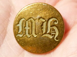 Antique Fox Hunt Button MH  Initials Meynell Maybe ? #FH9