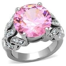 WOMEN'S STAINLESS STEEL 17 CARAT ROSE PINK COCKTAIL RING~SIZE 9
