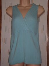 Old Navy Perfect Fit Woman's Lt. Blue Ribbed Cross Vneck Sleeveless Sweater Sz.L